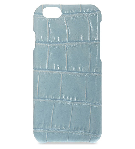 THE CASE FACTORY Crocodile-embossed leather iPhone 6/6S case (Aqua