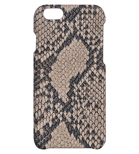 THE CASE FACTORY Soft python-printed leather iPhone 7/7S case (Cashmere