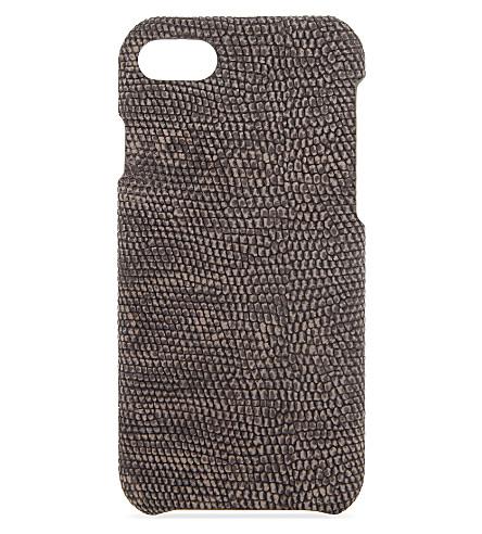 THE CASE FACTORY Iguana-embossed leather iPhone 7 case (Mud