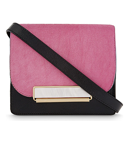 HILLIER BARTLEY Mini hair-calf and suede cross-body bag (Multi