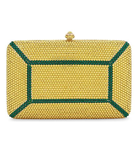 JASMINE NYE Faceta swarovski minaudière clutch (Gold emerald