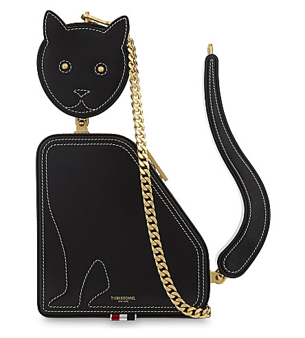 THOM BROWNE Cat leather shoulder bag (Black