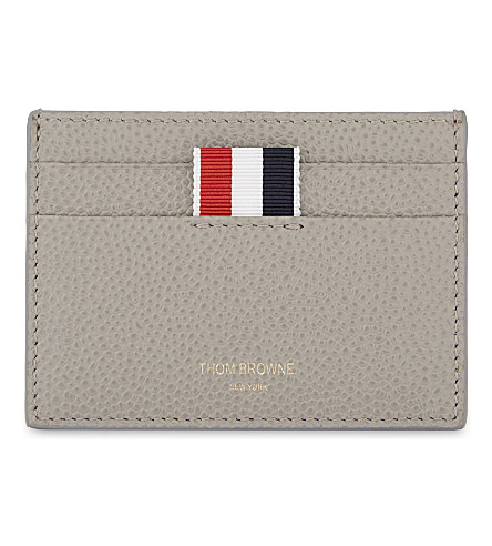 THOM BROWNE Pebbled leather card holder (Med grey