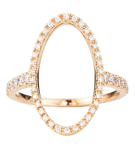 NOA FINE JEWELLERY Oval 18ct gold and diamond ring (Rose gold