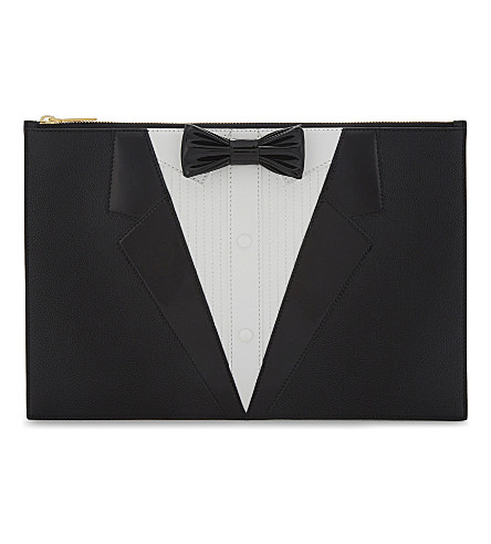 THOM BROWNE L'oeil Tux leather pouch (Black