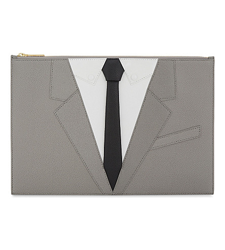 THOM BROWNE L'oeil Tux leather pouch (Med+grey