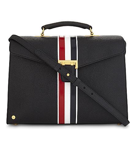 THOM BROWNE Mrs. Thom striped pebbled leather shoulder bag (Black