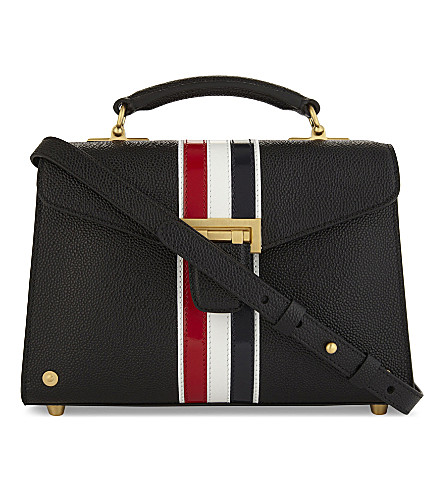 THOM BROWNE Mrs. Thom Jr striped pebbled leather shoulder bag (Black