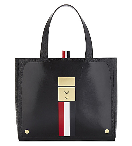THOM BROWNE Striped small leather tote (Black