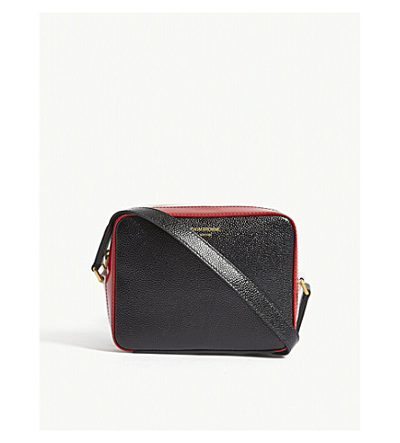 THOM BROWNE Business mini leather cross-body bag (Black