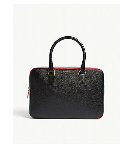 THOM BROWNE Jr. pebbled leather business bag (Black