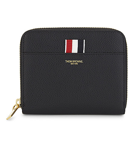 THOM BROWNE Zipped leather purse (Black