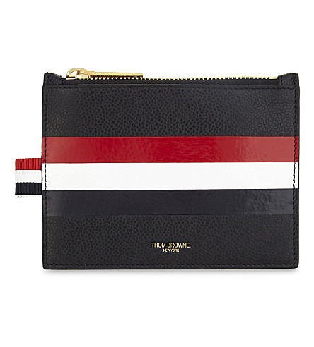 THOM BROWNE Web stripe leather coin purse (Black