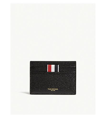 THOM BROWNE Pebbled leather card holder (Black