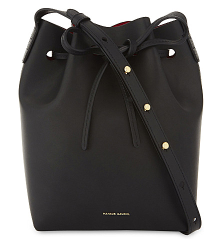 MANSUR GAVRIEL Mini leather bucket bag (Black/flamma