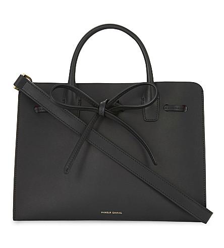 MANSUR GAVRIEL Mini Sun vegetable-tanned leather shoulder bag (Black/flamma