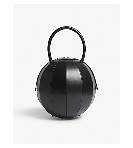 NITA SURI Pilo round leather handbag (Black