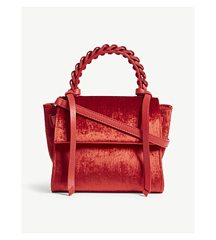ELENA GHISELLINI Angel extra small velvet shoulder bag (Scarlet