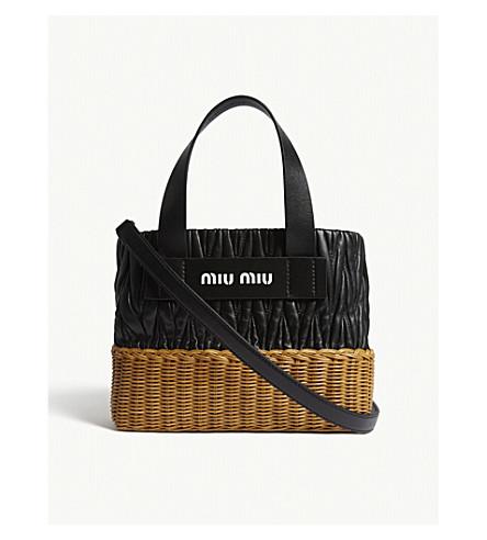 MIU MIU Matelassé leather and wicket tote (Black