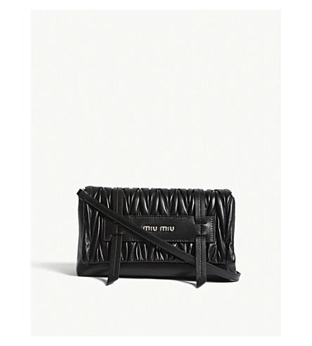 MIU MIU Matelassé quilted leather cross-body bag (Black