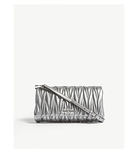 MIU MIU Quilted nappa-leather shoulder bag (Silver