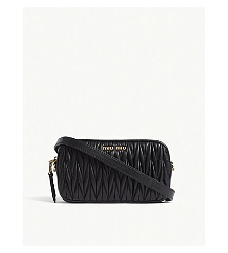MIU MIU Matelassé leather cross-body and belt bag (Black
