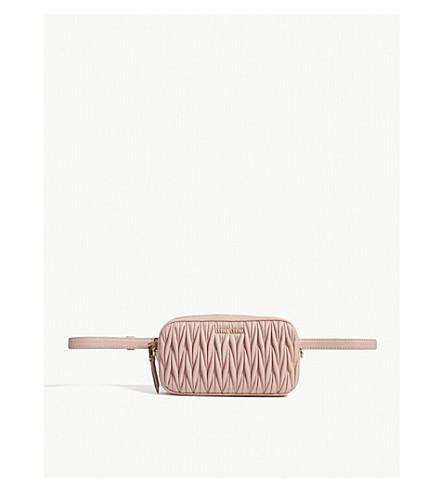 MIU MIU Matelassé leather cross-body and bum bag (Pink