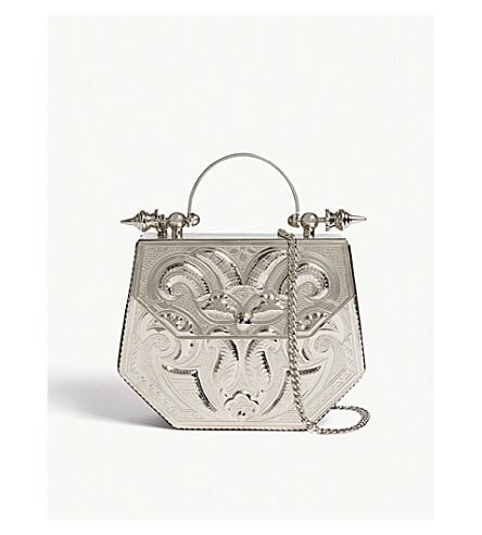 OKHTEIN Palmette Minaudiere hexagon box clutch bag (Silver