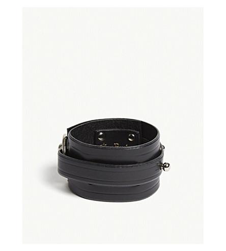 UNA BURKE Swivel leather bracelet (Black+silver