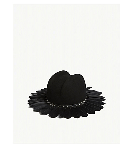 HOUSE OF MALAKAI Felt fedora feather hat (Black+silver