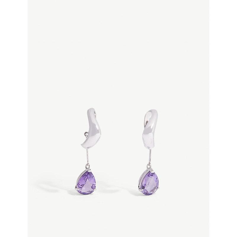 ALAN CROCETTI Purple amethyst drop ear cuffs