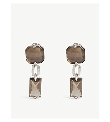 GOOSSENS Baguette stone drop earrings (Crf