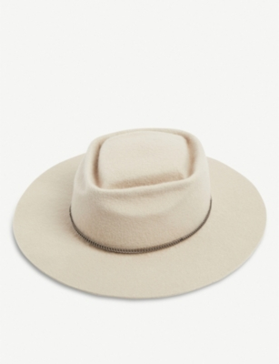 GLADYS TAMEZ MILLINERY Honey Gold Braided Felt Fedora in Alabaster