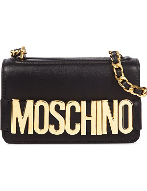 MOSCHINO Logo leather small cross-body bag