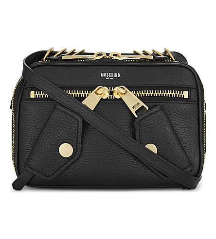 MOSCHINO Logo leather shoulder bag (Black