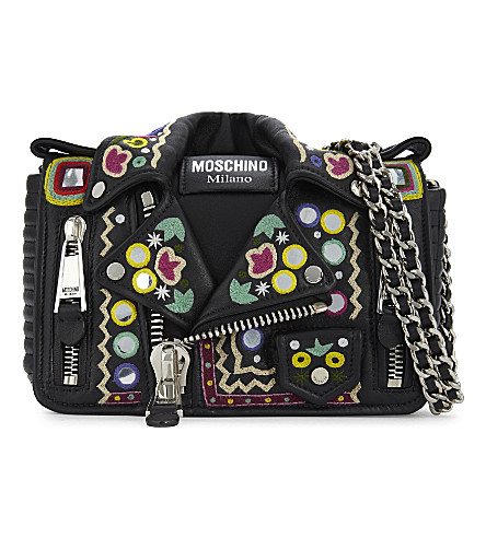 MOSCHINO Hippy embroidery leather biker jacket cross-body bag (Black