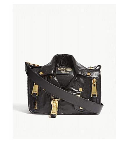 MOSCHINO Biker patent leather cross-body bag (Blk+gold