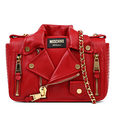 MOSCHINO Biker jacket shoulder bag (Red