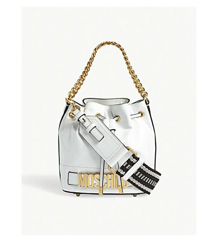 MOSCHINO Logo leather bucket bag (White