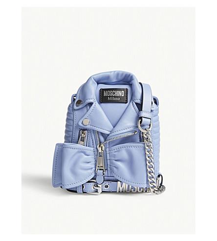 MOSCHINO Biker jacket bow leather shoulder bag (Blue