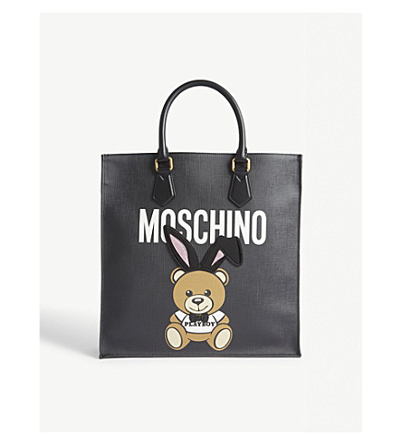 MOSCHINO Playboy teddy leather tote (Black