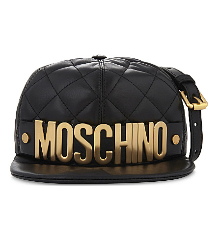 MOSCHINO Quilted cap leather shoulder bag (Black