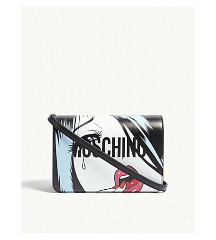 MOSCHINO Face logo leather shoulder bag (White