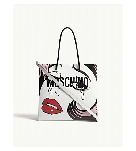 MOSCHINO Face and logo leather shopper (White