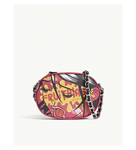MOSCHINO Fruitblast leather cross-body bag (Pink+orange