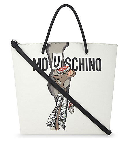 MOSCHINO Cartoon rodent-print tote (White