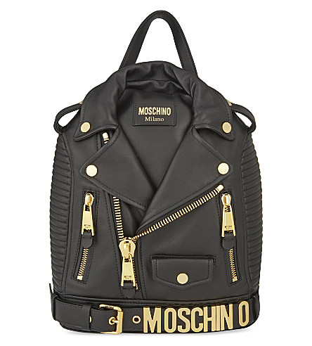 MOSCHINO Leather jacket backpack (Black