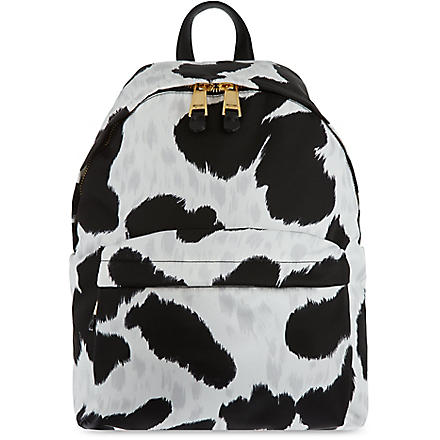 MOSCHINO Cow-print charms backpack (White/black