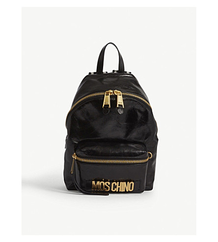 MOSCHINO Logo small patent leather backpack (Blk+gold