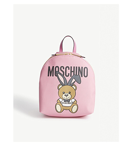 MOSCHINO Playboy bunny leather backpack (Pink